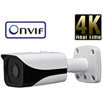 8 Megapixel 4K IP Network Bullet Security Camera - 4mm Fixed Lens - 98 IR 4K Progressive Scan CMOS - ONVIF Protocol