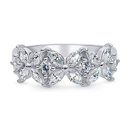 Berricle Rhodium Plated Sterling Silver Cubic Zirconia Cz Flower