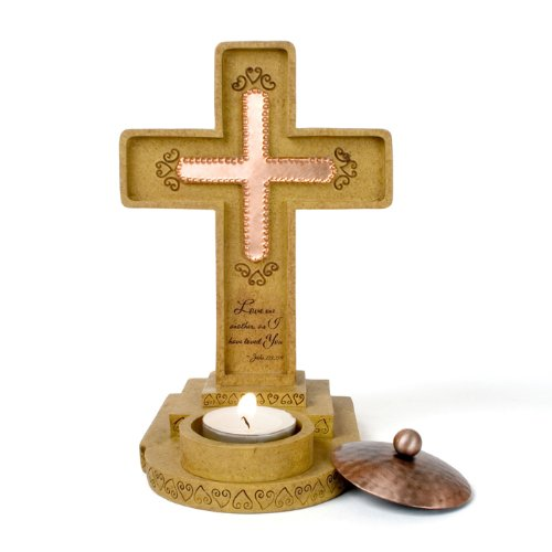 Comfort Candles Pavilion Love One Another Cross Figurine, Tea Light Candle and Holder, 7-1/2-Inch Tall Cross Tealight Candle Holder