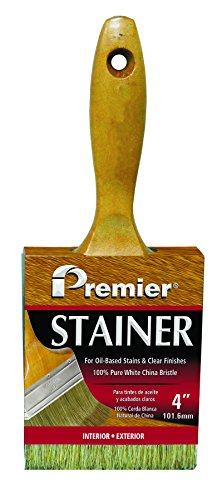 Gold Matte Lacquer - Premier B500-40 Deluxe 100% White China Bristle Stain Brush, 7/8 x 4