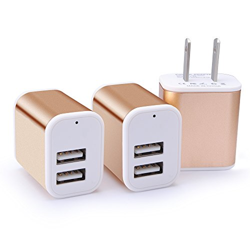 Dual USB Wall Charger, HUHUTA 3 Pack 2.1A 2-Port Powerful Universal Home Travel USB Charger Plug Fast Charging Block Compatible iPhone iPad iPod, Samsung Galaxy, LG, Nexus, Note, Google More