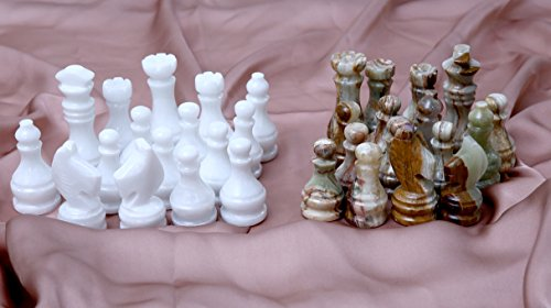 RADICALn Marble Big Board Games Complete Chess Figures White and Green Onyx Suitable for 16 - 20 Inches Chess Board - Antique 32 Chess Figures Set - Completely (Green Onyx) ()