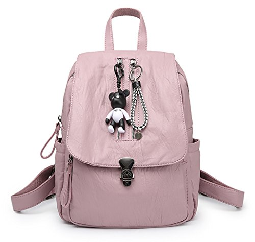 NUCLERL mujeres de tamaño medio mochila antideslizante de las muchachas del cuero de la PU de la mochila con el colgante del llavero para la escuela Negro Rosado