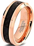 Charming Jewelers Tungsten Wedding Band Ring 8mm Men Women Comfort Fit Black Carbon Fiber 18K Rose Gold Plated Bevel Edge Polished Size 8.5