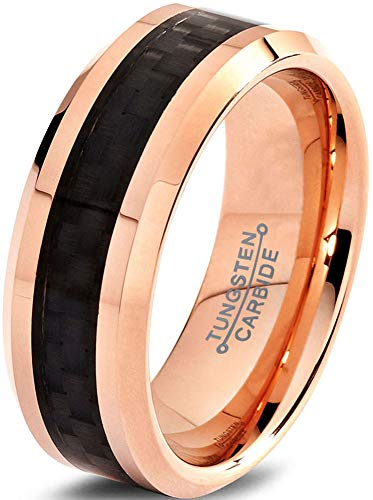 Charming Jewelers Tungsten Wedding Band Ring 8mm Men Women Comfort Fit Black Carbon Fiber 18K Rose Yellow Gold Plated Bevel Edge Polished