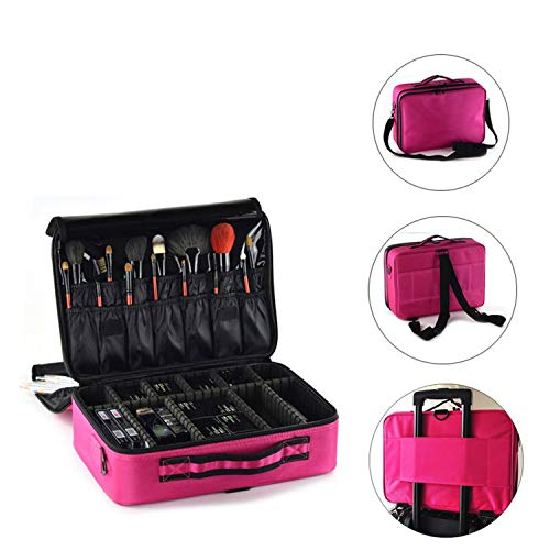Women Cosmetic Bag Travel Makeup Organizer Professional Make Up Box Cosmetics Pouch Bags Beauty Case For Makeup Artist,Pink M 3 Layers