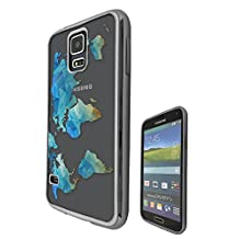 c01097 - Cool Green Blue World Map Atlas Geometric Style Pattern Design Samsung Galaxy S5 / S5 Neo Fashion Trend CASE Black & Clear Gel Rubber Silicone All Edges Protection Case Cover