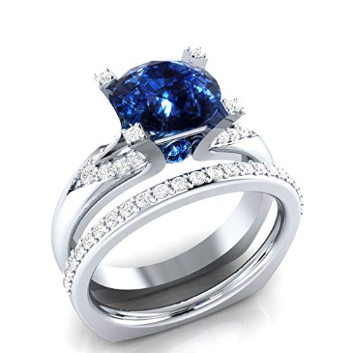 ✔ Hypothesis_X ☎ Zirconia Ring Four Claw Flower Studded Zircon Engagement Wedding Rings Eternity Ring Blue]()