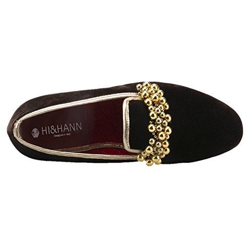 Hi & Hann Beading Decoration Handmade Velvet Slip-on Shoes Mocassini Appartamenti Smoking Slipper Chocolate