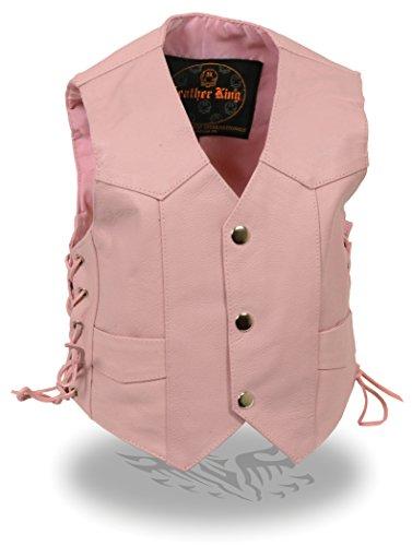 Milwaukee Leather Kids Pink Basic Three Snap Leather Vest (Pnk Pink Leather)
