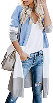 Owin Women's Cardigans Lightweight Sweaters Long Sleeve Loose Knit Colorblock Open Front Cardigan Swea