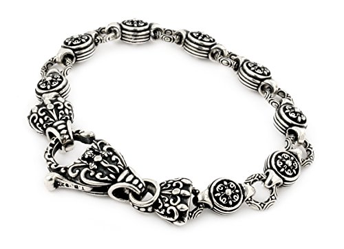 Twisted Blade 925 Sterling Silver Intricate Round Link Bracelet 8'' by Buy For Less