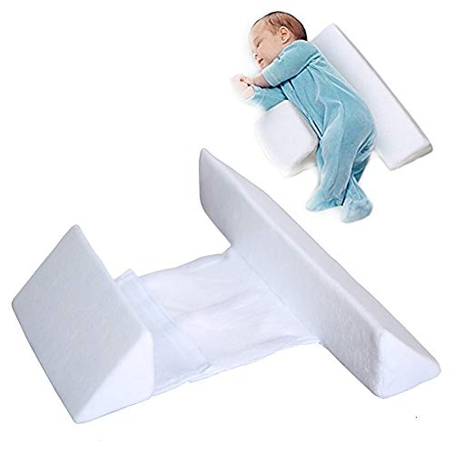 Baby Side Sleeping Pillow, Shaped Pillow, Anti-Head, Anti-Spitting Milk, Removable and Washable, (White)