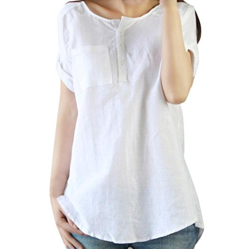 TOOPOOT Large Size Solid Cotton Linen Blouse Tops Womens Ladies (XXXL, white)