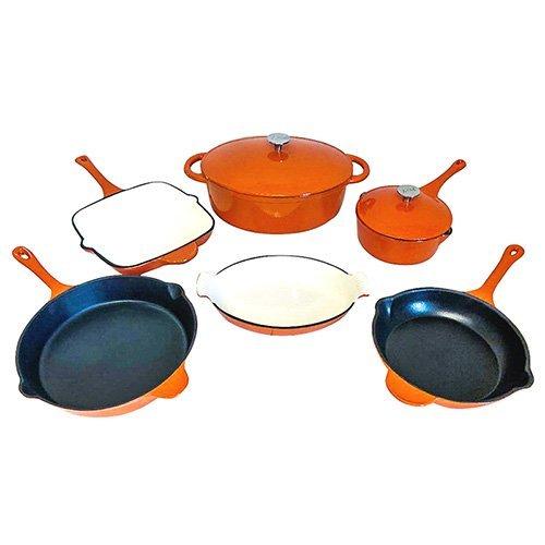 Le Chef 8-Piece All Enamel Cast Iron Orange Cookware Set.