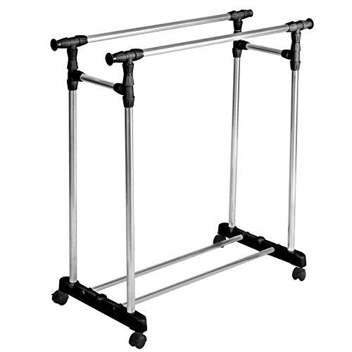 NEW HEAVY DUTY! Double Adjustable Portable Multi Functional Clothes Rack Hanger Extendable Rolling (Space Coast Craigslist Garage Sales)