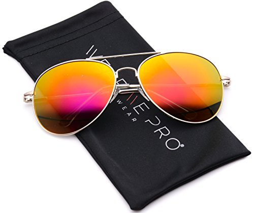 WearMe Pro - Classic Mirror Lenses Aviator Sunglasses w/Flex - Mirrored Aviators Red