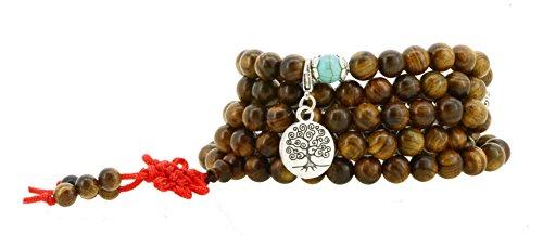 108 Tibetan Wooden Yoga Meditation Prayer Beads Mala Necklace Wrap Bracelet (Round Tree of Life)
