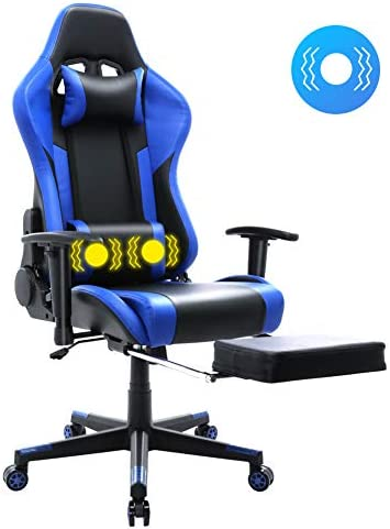 HomeMiYN Massager Gaming Chair Racing Style Recliner Swivel Video Game Chair