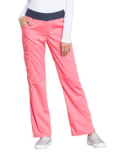 (Cherokee WW Revolution WW110 Mid Rise Pull-On Cargo Pant Blushing Coral S Petite)