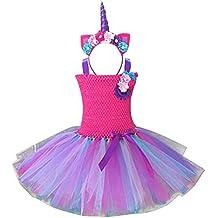 iiniim Kids Girls Unicorn Headband With Rainbow Tutu Dress Skirt Birthday Party Easter Outfit Fancy Costumes