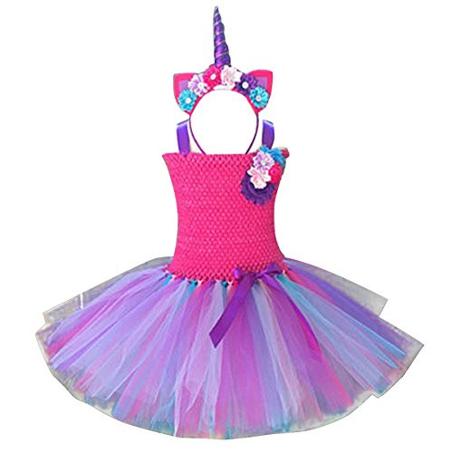 FEESHOW Kids Girls Rainbow Tutu Dress with Headband Halloween Cosplay Costumes Party Outfit Fancy Dress up Clothes Rose 7-8 -