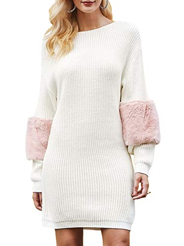 Long Batwing Sleeve Spliced Knitted Dress Crewneck Loose Dress White ()
