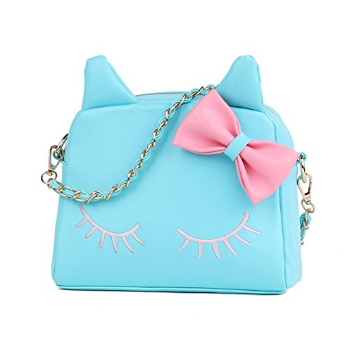 Large Size Women Bag,New Design Fashion Girls Cute PU Leather Cat Messenger Tote Shoulder Bag (Blue)