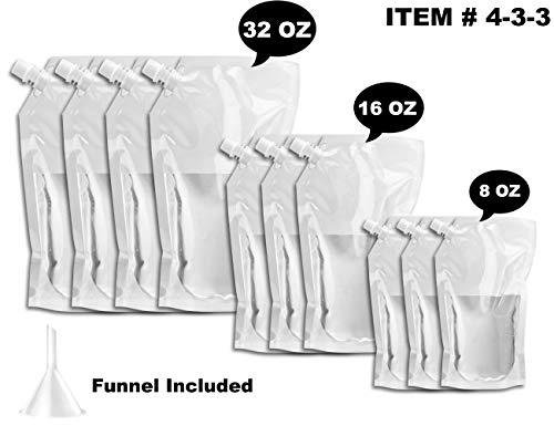 Flask Set for Cruises and Travel - Concealable And Reusable Alcohol juice Travel Plastic Bags for drink - 4 x 32 oz + 3 x 16 oz + 3 x 8 oz + 1 funnel (433 FlaskKit)