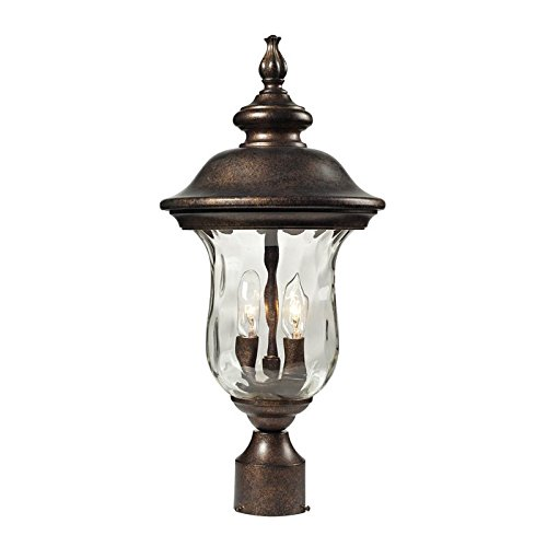 Elk 45023/2 Lafayette 2-Light Outdoor Post Mount with Blown Water Glass Body, 10 by 21-Inch, Regal Bronze Finish (2 Elk)