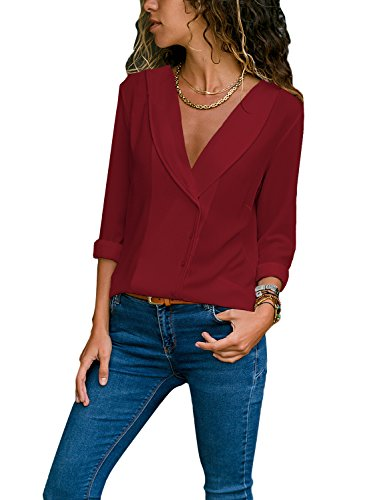 Women Sexy Deep V Neck Lapel Long Sleeve Fashion Shirts for Women 2018 Tuck in Jeans Casual Blouses Wine S 4 6