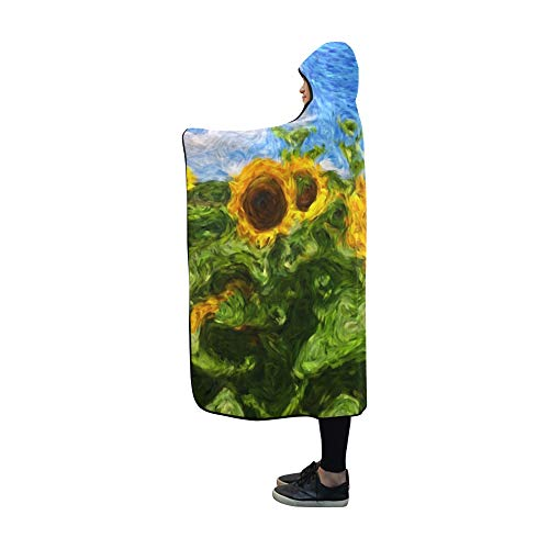 (YUMOING Hooded Blanket Digital Art Fine Brush Strokes Sunflower Blanket 60x50 Inch Comfotable Hooded Throw Wrap)