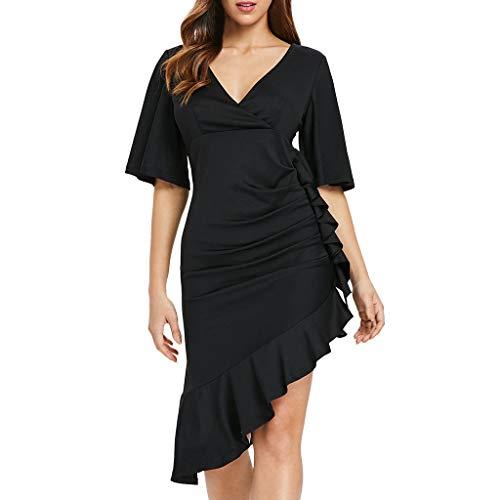 Sunday88 Womens Short Sleeve Dress Ladies Summer V-Neck Solid Ruffles Asymmetric Dress Cocktail Formal Swing Dress ()