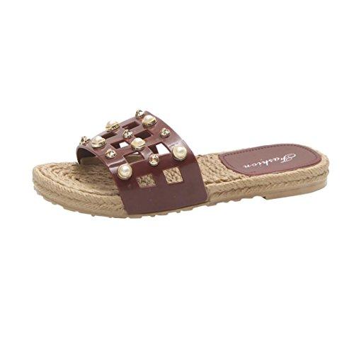 Muium Women Fashion Sandals, Ladies Pearl Flat Sandals Open Toe Beach Platform Shoes Red
