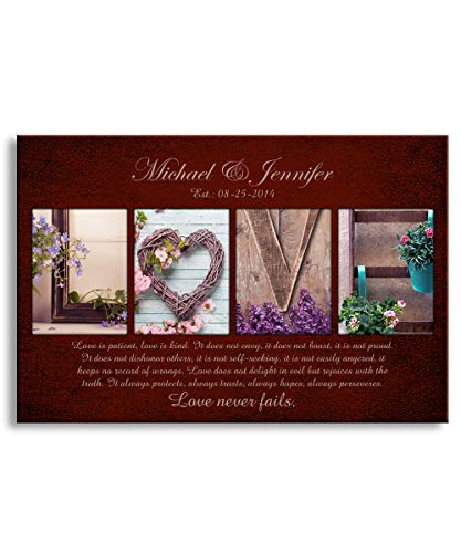 (Love never fails -Personalized artwork with couple's names, wedding anniversary gifts, Valentine's day gifts 24x16)