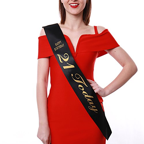 Black 21st Birthday Satin Sash