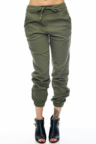 Womens Cool Lovely Cute Loose Stretchy HipHop Dance Style Drawstring Jogger RJJ-156 (L, Olive) by American Bazi
