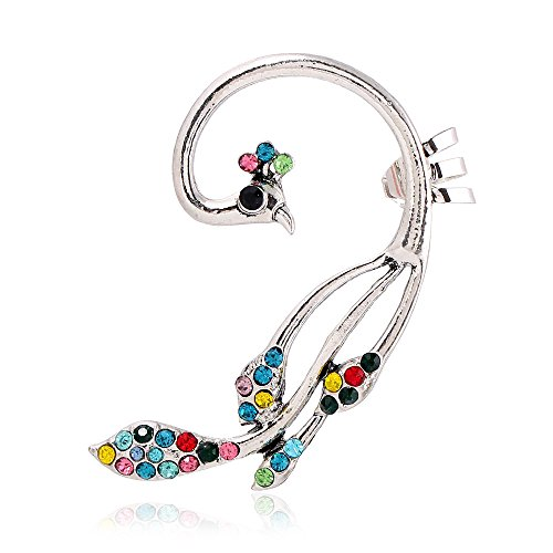 Winter's Secret Fashion Personality Peacock Colorful Diamond Accented Ear Clip Animal Earring - Town & Country Shaker