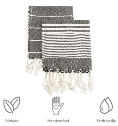 Ahenque Hand-Loomed Lightweight&Durable&Absorbent Cotton Turkish Towel, Black&Cream Color Hand/Face/Hair Towel, Turkish Cotton Tea Towel, Dish Towels with Fringe