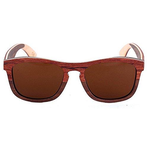Mano Protección Sol Cuadrado Brown de a Gafas Hecha de Madera al Hombre Sol para Brown Libre Color polarizado SunglassesDY Gafas para Aire Montar Retro UV Dongy qf1xP