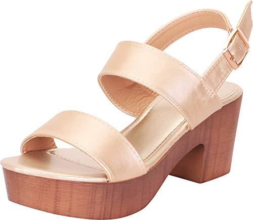 Cambridge Select Women's Retro 70s Clog Chunky Platform Block Heel Sandal,9 B(M) US,Champagne PU