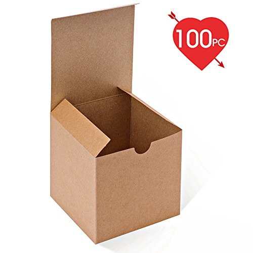 MESHA Kraft Brown Boxes 100 Pack 4 x 4 x 4 Inches, Paper Gift Boxes with Lids for Gifts, Mugs, Cupcake (Brown Cake Favor Boxes)