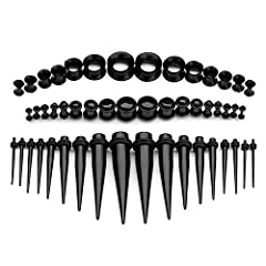 50Pcs Ear Stretching Kit 14G-00G Acrylic Tapers and Plugs+Silicone Tunnels-Ear Gauges Expander Set Body Piercing Jewelry This Stretching Kit Including 50 Pieces:14pcs Silicone Tunnels 8G-00G+12mm,18 Straight Tapers 14G-00G,18 Double O-Ring Pl...