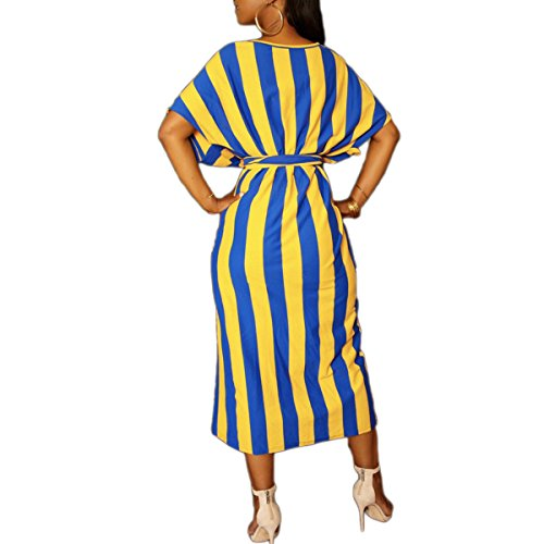 la Cuello Yellow Largo de Manga del tamaño Vestido Lazo de Color la Batwing de Corta S la de Cintura del O Fractura Fiesta Mujeres de Las 0XgxxA