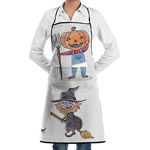 Friendly Chef Apron,Cute Children in Halloween Costumes Unisex Durable Kitchen Aprons with Front Pocket for Cooking Baking Painting