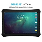 "#LightningDeal BENEVE 10 Tablet, 10.1"" 1920&1200 IPS Display, 2+32 GB, WiFi and Andriod System, Black - for Kids and Adult"