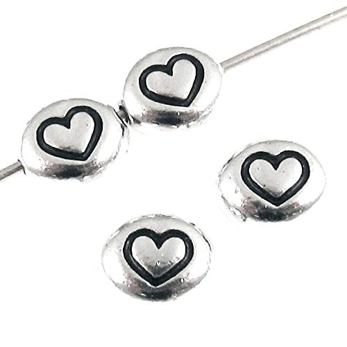 Silver Symbol Heart Oval Beads, TierraCast Rhodium Plated Pewter (4 Pieces) ()