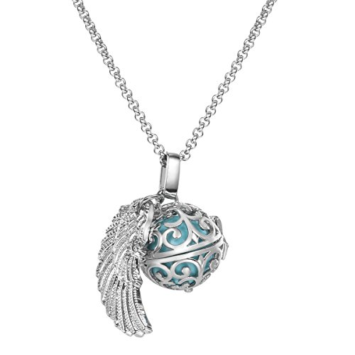 Feather Wing Cool Mexican Bola Harmony Musical Ball Angel Caller Pregnancy Chime Locket Pendant Necklace Gifts Presents 30