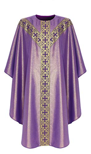 Purple Semi Gothic Chasuble Vestment GY071-F10 - Brocade Chasuble