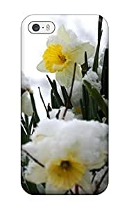 GmOpPtQ1737WTdPm Tpu Case Skin Protector For Iphone 5/5s Daffodils In The Snow White Nature Flower With Nice Appearance